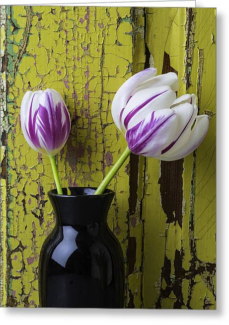 Tulips In Black Vase Greeting Card