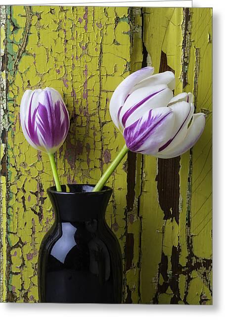 Tulips In Black Vase Greeting Card by Garry Gay