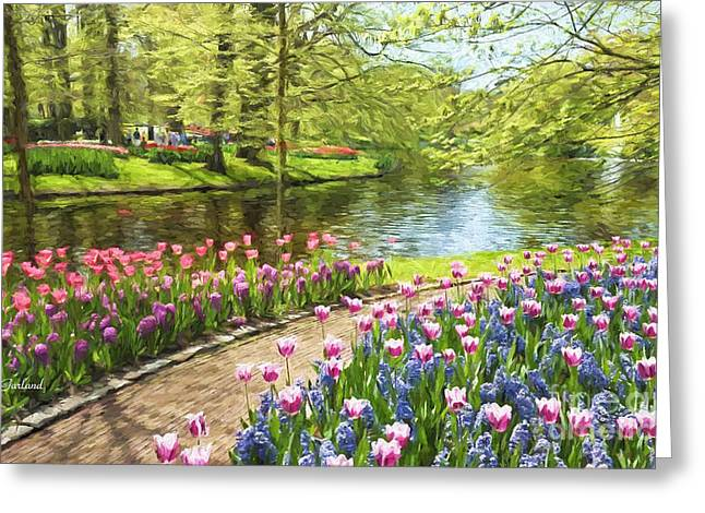 Tulips In Bloom At The Park  Greeting Card