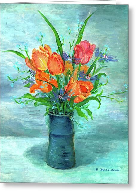 Vase Of Flowers Greeting Cards - Tulips in BlueVase Greeting Card by Ethel Vrana