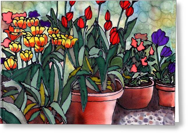 Garden Art Tapestries - Textiles Greeting Cards - Tulips in Clay Pots Greeting Card by Linda Marcille