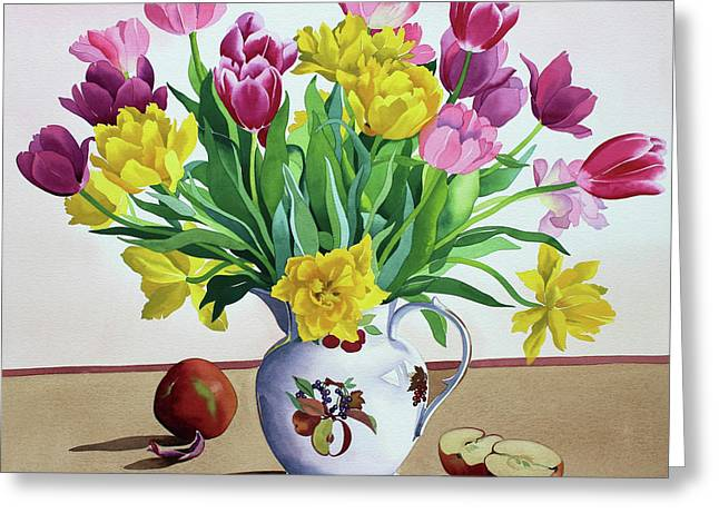 Tulips In Jug With Apples Greeting Card