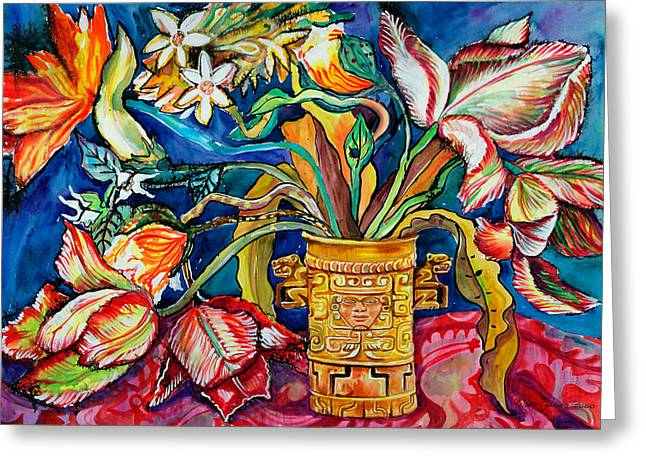 Tulips In Mexican Vase Greeting Card