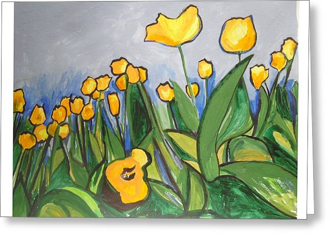 Greeting Card featuring the painting Tulips In Springtime by Esther Newman-Cohen