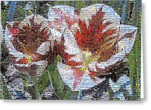 Tulips In Springtime Photomosaic Greeting Card by Michelle Calkins