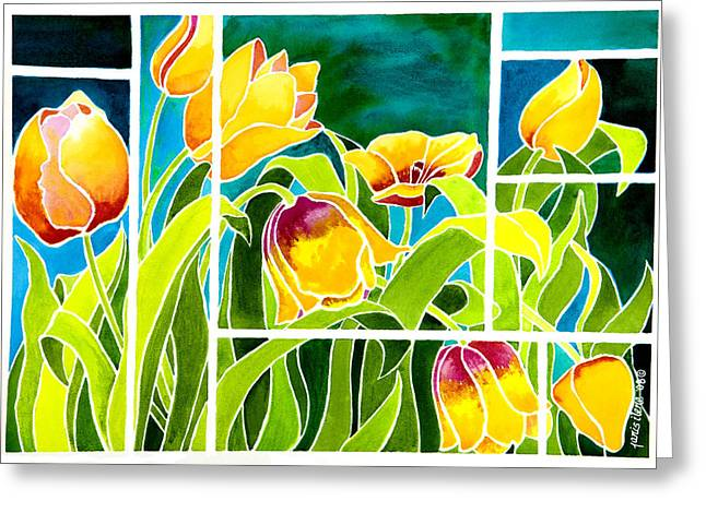 Tulips In Stained Glass Greeting Card by Janis Grau