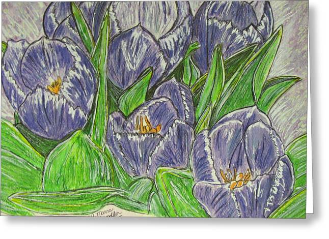 Greeting Card featuring the painting Tulips In The Spring by Kathy Marrs Chandler