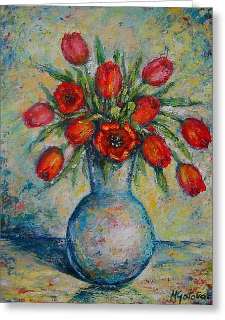Tulips In The Vase Greeting Card by Mirjana Gotovac