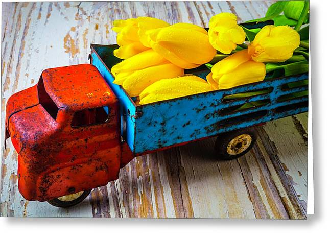 Tulips In Toy Truck Greeting Card