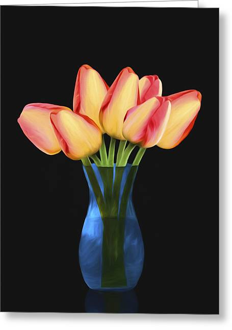 Tulips In Vase Greeting Card by Steven Michael
