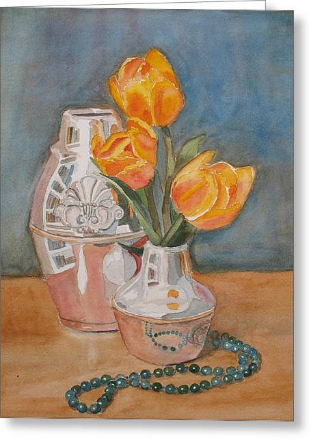 Tulips Jade And Books Greeting Card by Jenny Armitage