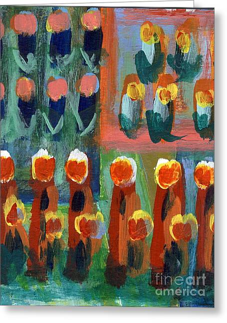 Greeting Card featuring the painting Tulips by Jan Daniels