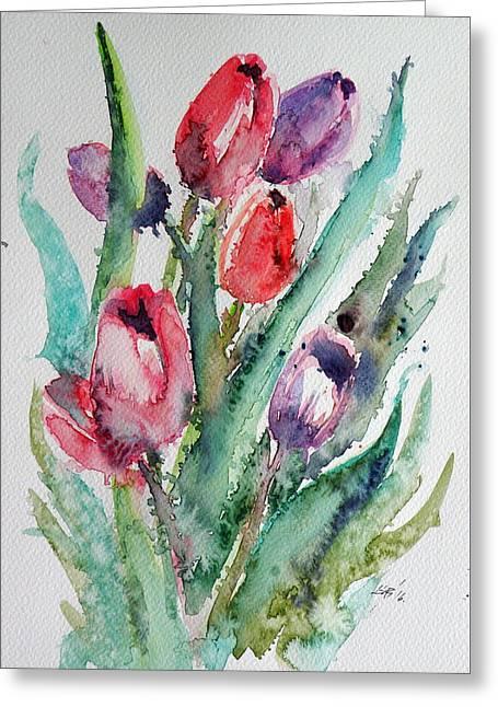 Tulips Greeting Card by Kovacs Anna Brigitta