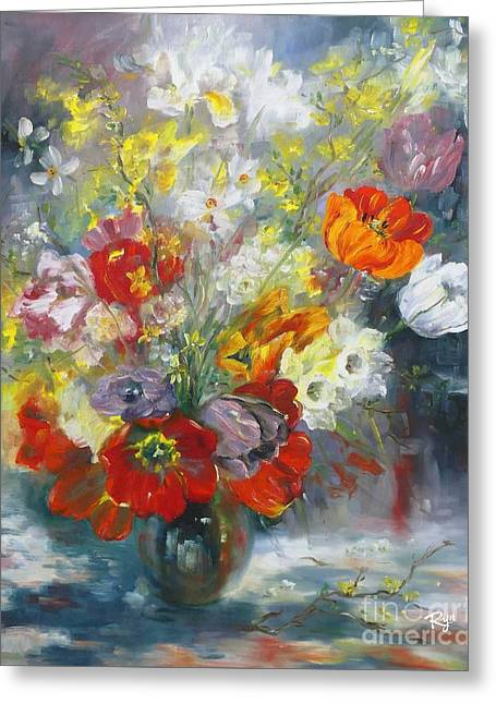 Tulips, Narcissus And Forsythia Greeting Card