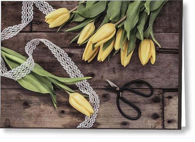 Tulips Of Spring Greeting Card by Kim Hojnacki