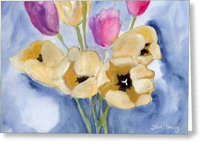 Tulips On Mom's Dining Table Greeting Card by Janel Bragg