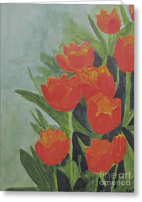 Greeting Card featuring the painting Tulips by Sandy McIntire
