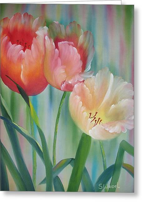Tulips Greeting Card by Sherry Winkler