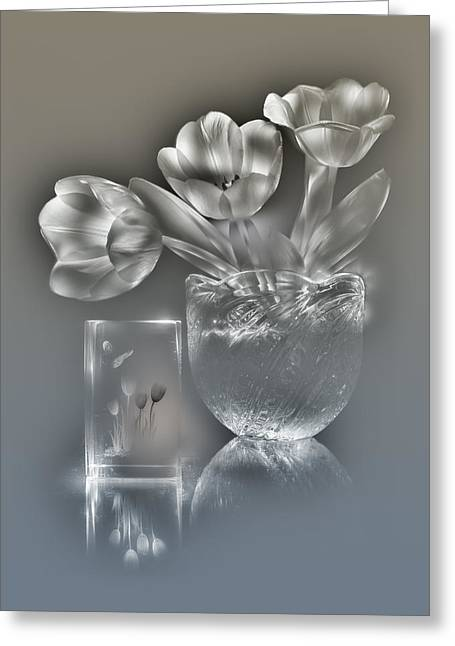 Tulips, Silver Variant Greeting Card by Alexey Kljatov