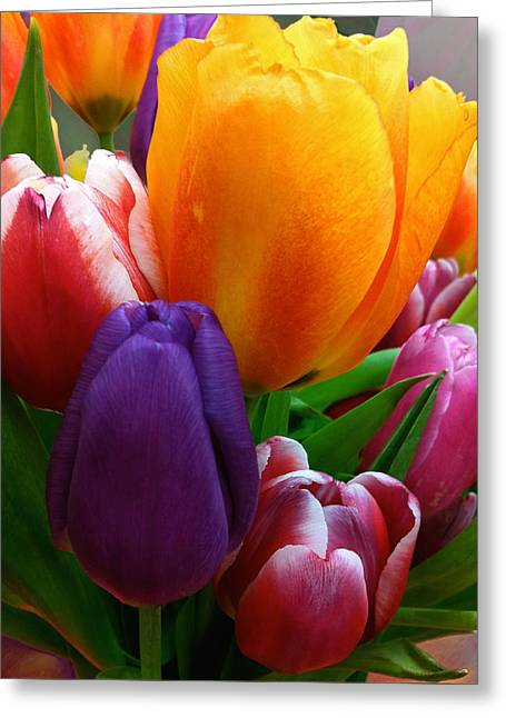 Greeting Card featuring the photograph Tulips Smiling by Marie Hicks