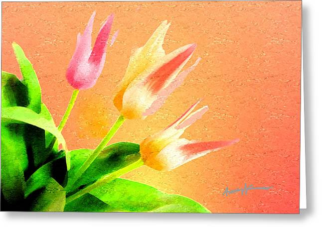 Tulips Three Greeting Card by Anthony Caruso