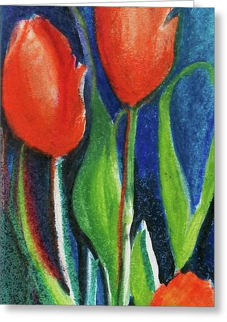 Vibrant Pastels Greeting Cards - Tulips Too Greeting Card by Evelyn Sprouse Rowe