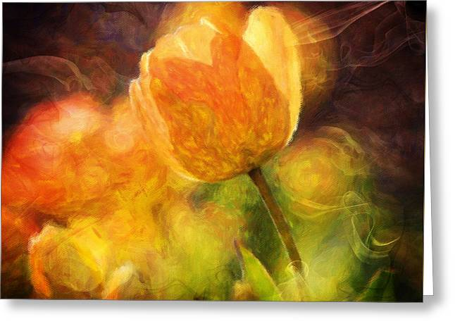 Tulips With A Moderntwist Greeting Card by Georgiana Romanovna