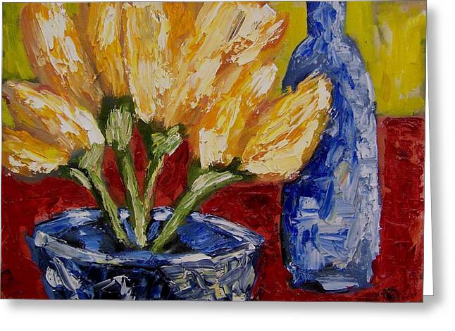 Tulips With Blue Bottle Greeting Card by Windi Rosson