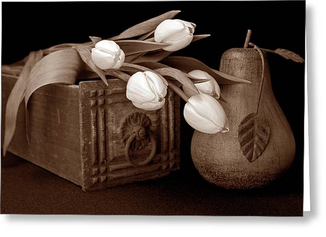 Tulips With Pear I Greeting Card by Tom Mc Nemar
