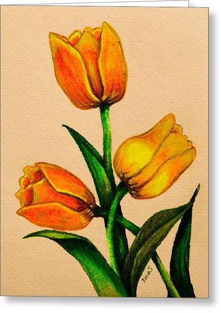 Tulips Greeting Card by Zina Stromberg