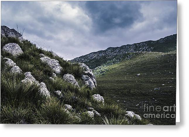 Tullah And Queenstown Rock Valley Landscape  Greeting Card