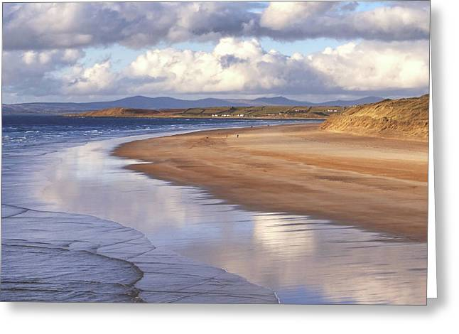 Tullan Strand - Clouds Reflected In The Sea, The Beach And Donegal Hills Greeting Card