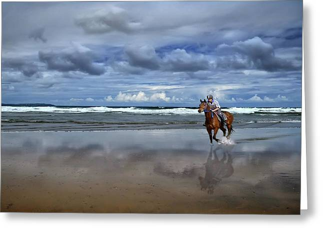 Tullan Strand - Horseriding In The Surf Greeting Card