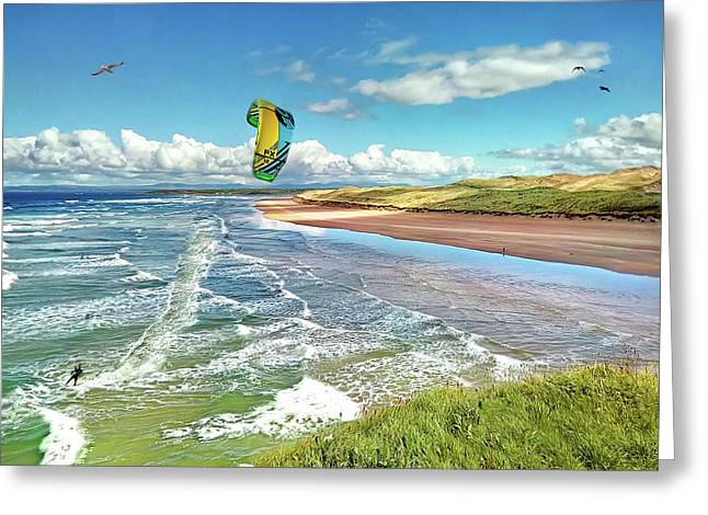 Tullan Strand - Surf, Blue Sky And A Kite Surfer Enjoying The Waves Greeting Card