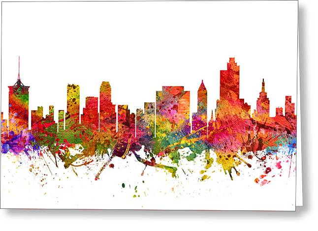Tulsa Cityscape 08 Greeting Card by Aged Pixel