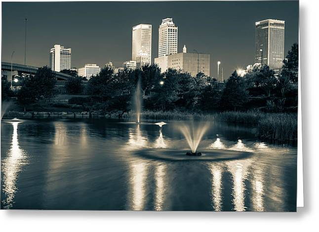 Tulsa Downtown In Sepia Greeting Card by Gregory Ballos