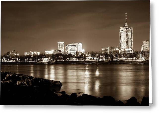 Tulsa Downtown Skyline River View - Sepia Edition Greeting Card by Gregory Ballos