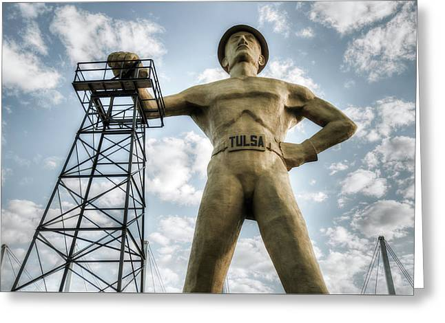 Greeting Card featuring the photograph Tulsa Driller Tulsa Oklahoma - Vintage Colors by Gregory Ballos