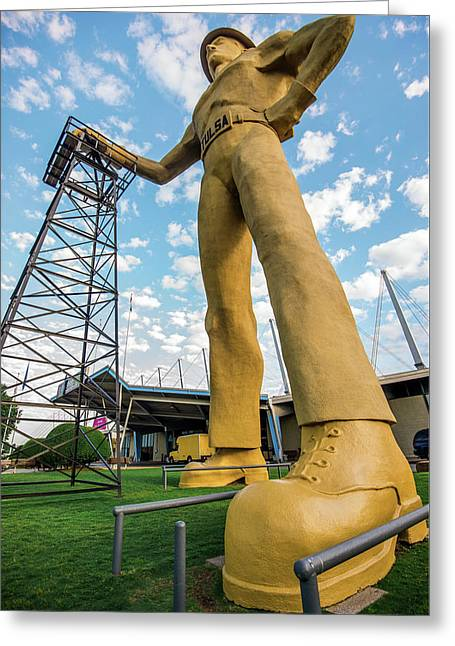 Tulsa Golden Driller From Below Greeting Card