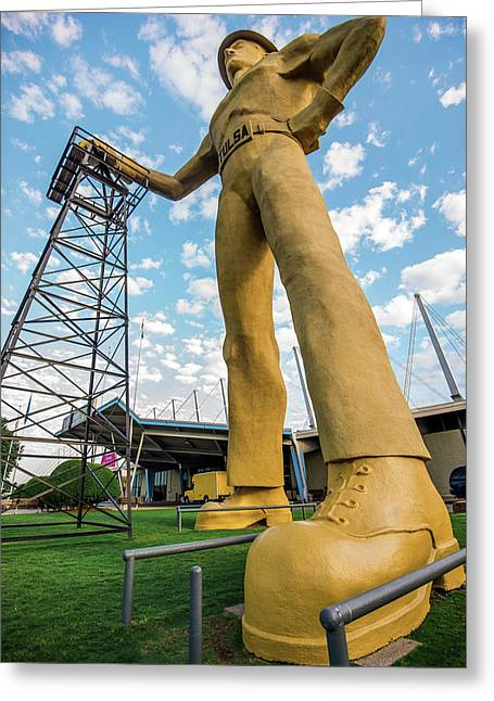 Greeting Card featuring the photograph Tulsa Golden Driller From Below by Gregory Ballos