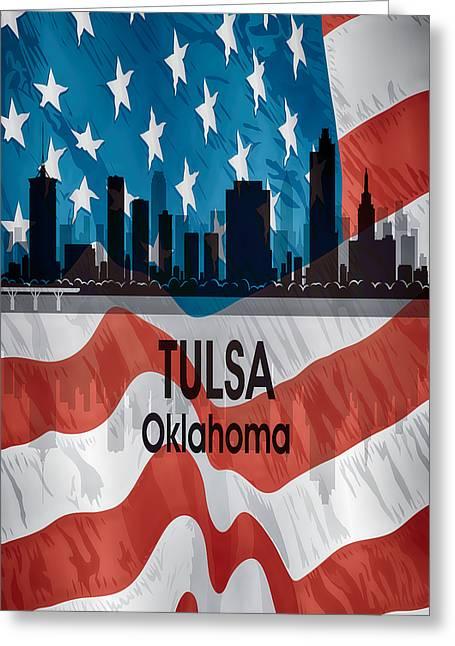 Tulsa Ok American Flag Vertical Greeting Card