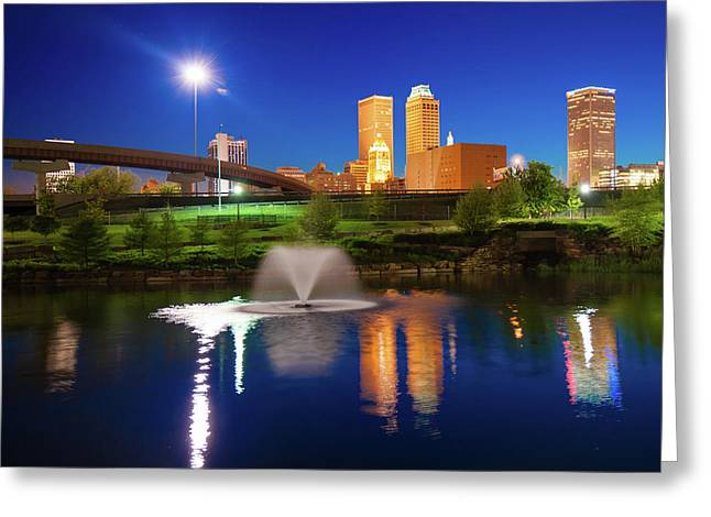 Tulsa Oklahoma City Skyline In Midnight Blue Greeting Card by Gregory Ballos