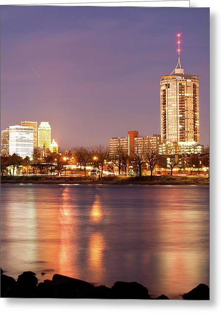 Tulsa Oklahoma Lights On The River Greeting Card by Gregory Ballos