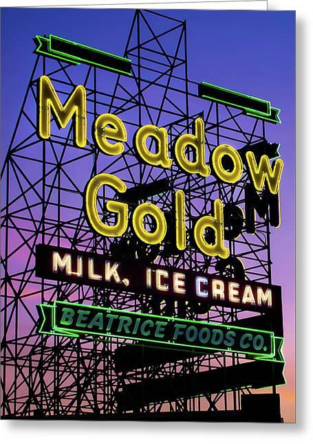 Tulsa Oklahoma Meadow Gold Neon - Route 66 Photo Art Greeting Card