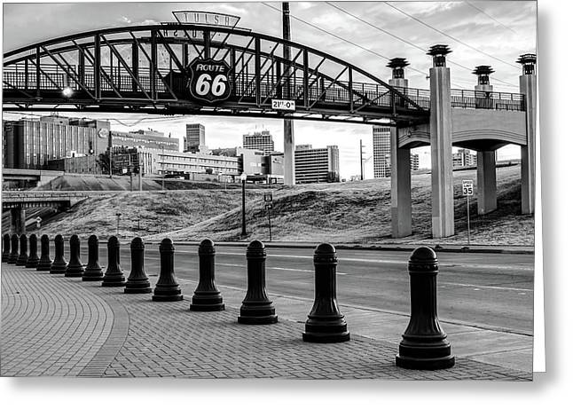 Greeting Card featuring the photograph Tulsa Oklahoma Route 66 - Cyrus Avery Plaza - Black And White by Gregory Ballos