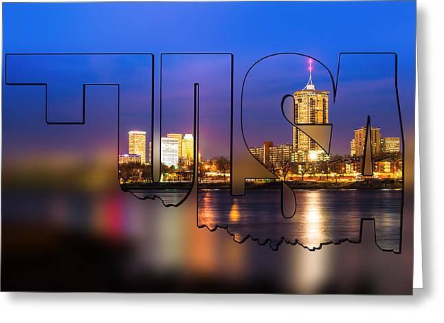 Tulsa Oklahoma Skyline Blur Typographic Letters - Riverside View Of Tulsa Oklahoma Skyline Greeting Card by Gregory Ballos