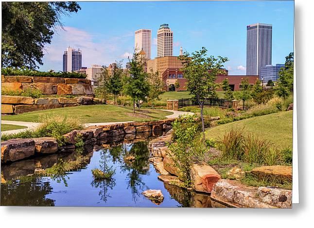 Tulsa Oklahoma Skyline From Centennial Park River Greeting Card by Gregory Ballos