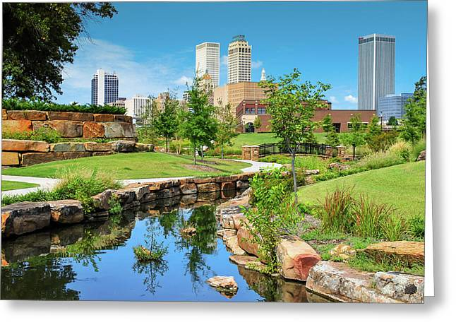Tulsa Oklahomka Skyline View From Central Centennial Park Greeting Card