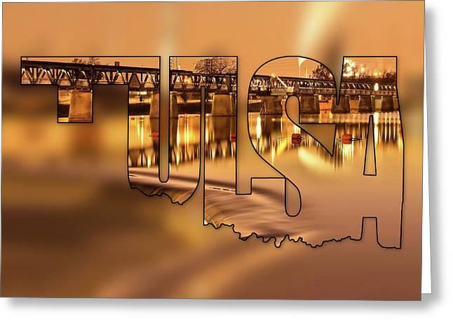 Tulsa Oklahoma Typography Blur - State Shape Series - Liquid Gold - 21st Street Bridge Greeting Card by Gregory Ballos