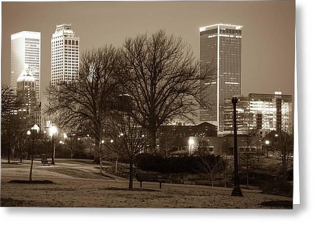 Tulsa Sepia Skyline - Oklahoma Usa Greeting Card by Gregory Ballos